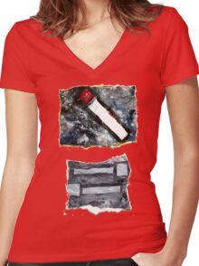 Grey matchsticks Women's Fitted V-Neck T-Shirt