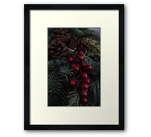 Holly Berries Christmas Wreath Framed Print