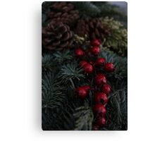 Holly Berries Christmas Wreath Canvas Print