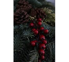Holly Berries Christmas Wreath Photographic Print