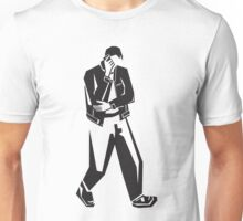 young man talking on a cell phone  while walking Unisex T-Shirt