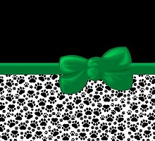 Dog Paws, Traces -  Ribbon and Bow - White Black Green by sitnica
