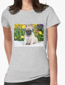 Cute Puppy Caesar the Pug by AiReal Apparel Womens Fitted T-Shirt