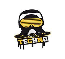 Techno Penguin DJ Photographic Print