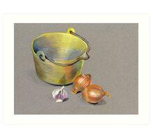 Brass Pan and Onions Art Print