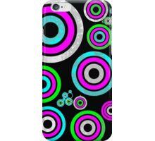 Neon green pink teal circle art iPhone Case/Skin