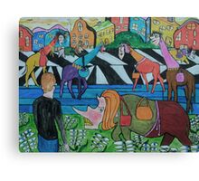 Ladies shopping in the Toon Canvas Print