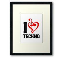I Love Techno Music Framed Print