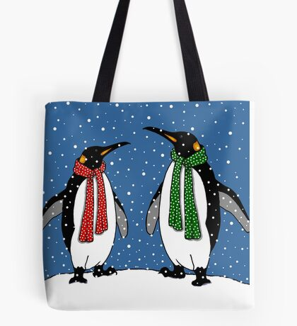 Penguin Couple in Snowy Landscape No. 3, Whimsical Art Tote Bag