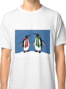 Penguin Couple in Snowy Landscape No. 3, Whimsical Art Classic T-Shirt
