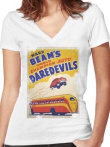 Dare devil Autos 1950 s poster t-shirt vintage Women's Fitted V-Neck T-Shirt