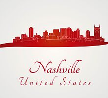 Nashville skyline in red by paulrommer