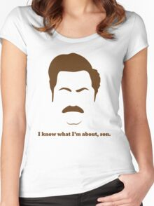 ron swanson i know what I'm about ,son Women's Fitted Scoop T-Shirt
