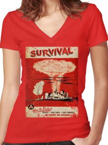 Survival nuclear 1950's Vintage T-shirt Women's Fitted V-Neck T-Shirt