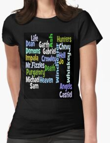 Supernatural Word Cloud Womens Fitted T-Shirt