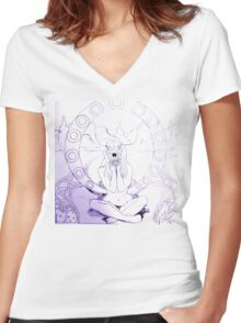 Sketchy Sketch Anemone Women's Fitted V-Neck T-Shirt