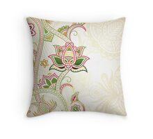 Elegant Green Paisley Throw Pillow