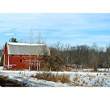 Red Barn in the snow Photographic Print