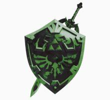 Zelda Sword and Shield Green n Black One Piece - Short Sleeve