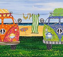 Kombi Camp no. 1 by Lisa Frances Judd ~ QuirkyHappyArt