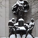Herald Square Statue, Snow View, Herald Square, New York City by lenspiro