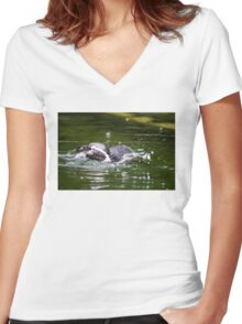Penguin #1 Women's Fitted V-Neck T-Shirt