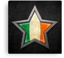Irish Flag Inside of an Aged and Scratched Star Canvas Print