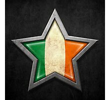 Irish Flag Inside of an Aged and Scratched Star Photographic Print
