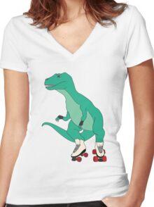 Tyrollersaurus Rex Women's Fitted V-Neck T-Shirt
