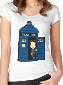 DOCTOR WHO IN TARDIS EIGHTH DOCTOR Women's Fitted Scoop T-Shirt