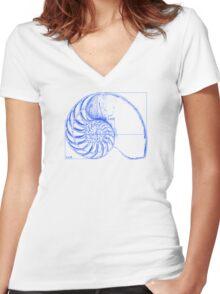 Fibonacci on a nautilus shell (blue) Women's Fitted V-Neck T-Shirt