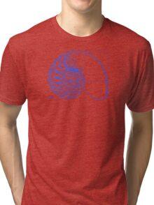 Fibonacci on a nautilus shell (blue) Tri-blend T-Shirt