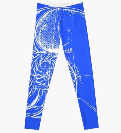 Fibonacci on a nautilus shell (blue) Leggings