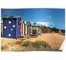 Mornington Peninsula Beach Boxes Poster