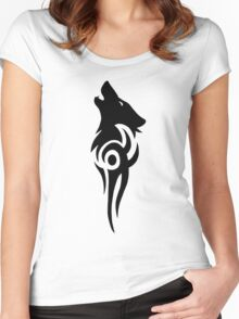 Howling Wolf Tribal Women's Fitted Scoop T-Shirt