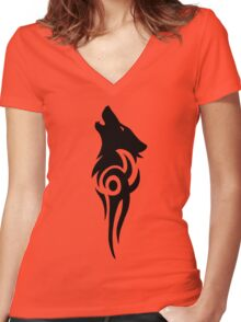Howling Wolf Tribal Women's Fitted V-Neck T-Shirt