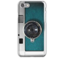 Classic retro Blue Teal Leather silver Germany vintage camera iPhone Case/Skin