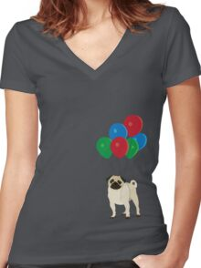 Balloon Pug Women's Fitted V-Neck T-Shirt