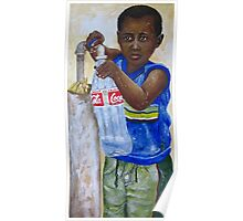 Little boy filling bottle with water Poster