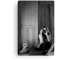 Girl and her rainboots Canvas Print