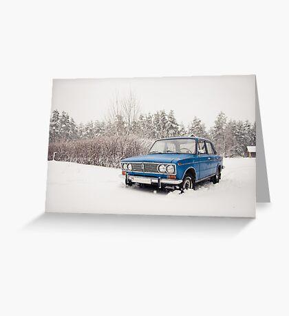 VAZ 2103 in winter Greeting Card