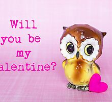 Will you be my valentine? Valentine card (owl version) by Zoe Power