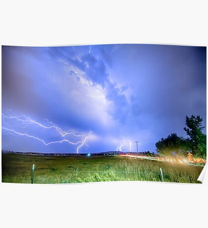 75th and Woodland Lightning Thunderstorm View HDR Poster