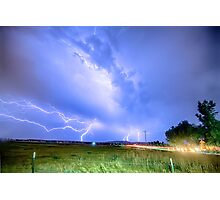75th and Woodland Lightning Thunderstorm View HDR Photographic Print