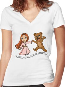 The Bear And The Maiden Fair Women's Fitted V-Neck T-Shirt