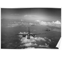 RAF Bostons at medium altitude black and white version Poster