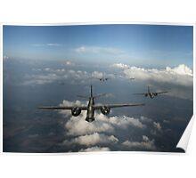 RAF Bostons at medium altitude Poster