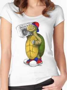 Hip Hop Boombox Turtle Women's Fitted Scoop T-Shirt