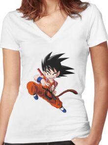 Son Goku (孫 悟空?), -Dragon Ball Women's Fitted V-Neck T-Shirt