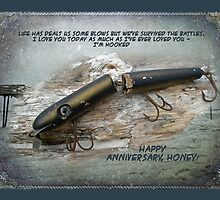 Anniversary Greeting Card - Vintage Saltwater Fishing Lure by MotherNature
